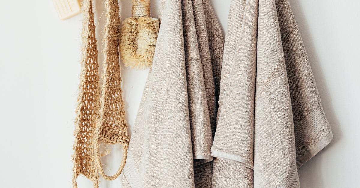 A close up of a towel hanging on the wall